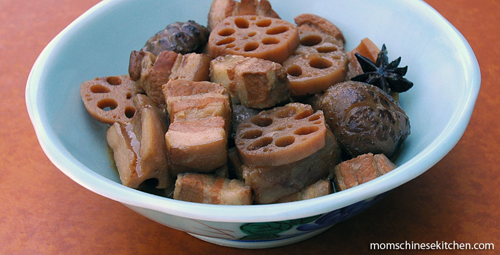 Braised pork belly and lotus root